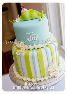 baby shower cakes, pea, cake idea, color, cake decorations, cake decorating techniques, shower idea, babi shower, baby showers