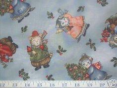 KITTY CUCUMBER Snow Christmas Fabric - Retired Rare HTF