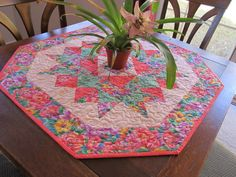 quilt tabl, tabl runner, table toppers, handmad peach, quilt idea