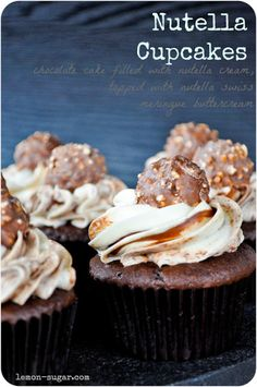 Nutella Cupcakes....Chocolate cake filled with whipped Nutella cream, and topped with Nutella-swirled swiss meringue buttercream