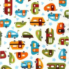 Out N' About by Caleb Gray for Robert Kaufman Fabrics - Camp Trailers Bermuda ACY-12842-237-BERMUDA. $9.25, via Etsy.