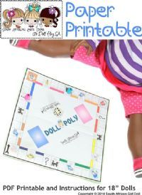 "Make a Monopoly board for your 18"" doll monopoly"
