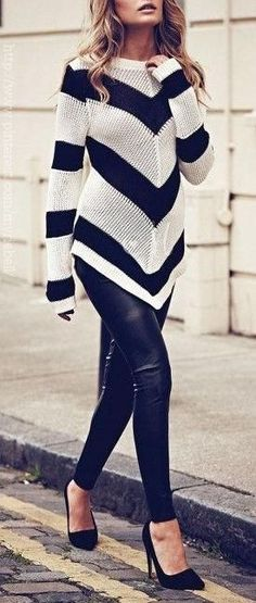 I love the chunky sweater + leather leggings look sweaters, fashion, style, outfit, black white, leather leggings, leather pants, jumper, chevron stripes