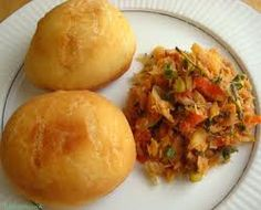 Bakes and saltfish is a typical breakfast in Guyana