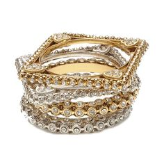 Noor Bangle Set   Four-piece 18k gold and silver-plated brass bangle set.