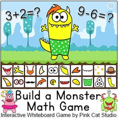 Build a Monster Math Game - This fun and engaging game will have your students excited to practice addition and subtraction! With nearly 300 questions and several monsters to build, your students will never get tired of practicing math. This game is designed to be played individually on a personal computer or with the whole class when projected onto your SMARTBoard, Promethean, Mimio or Interactive Whiteboard.