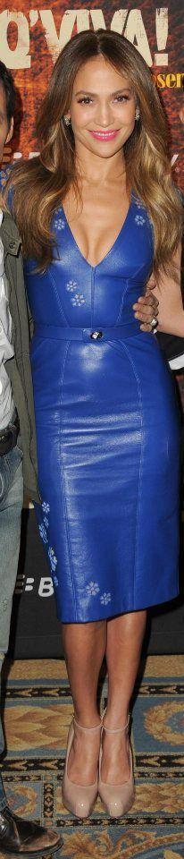 J Lo in Reem Acra blue leather dress