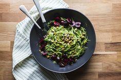 Pistachio Kale Pesto with Zucchini Noodles cherri, zucchini noodl, pistachio kale