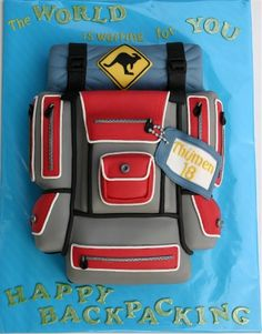 Happy Backpacking 3D Cake