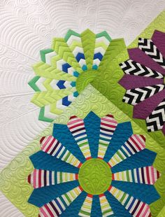 close up, Kathleen's Modern Dresden Plate, longarm quilting by Gina Beans Quilts