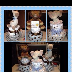 Animal themed baby shower diaper cakes <3