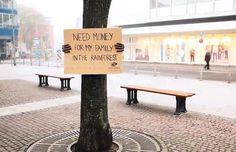 """""""Besoin d'argent pour ma famille qui habite dans la forêt amazonienne"""" planet, family trees, nature, street art, guerrilla marketing, families, ad campaigns, streetart, rainforests"""