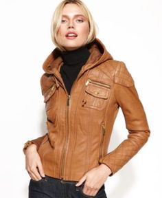 leather quilted hooded jacket - michael kors/macys leather hood, leather jacket, quilt jacket, michael michael, michael kors, kor coat, jackets, hood quilt, coats