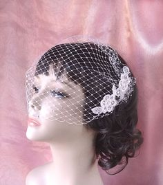 Birdcage bandeau veil, bridal bird cage veil - ROMANCE - French veil, wedding bird cage, lace and crystals,