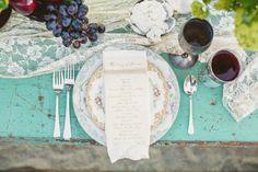 wedding tables, bridal shoot, turquoise, wedding table settings, color, vintage, wedding shoot, beach weddings, tabl set