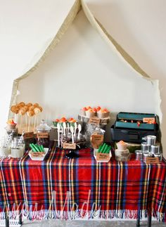 Camping Themed Birthday Party cute idea or Father's Day feast - cute for Jake's next bday then the kids could have a sleepover in the tent