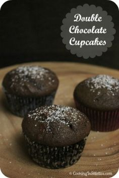 Double #Chocolate Cupcakes - so easy and you would have no idea that they are a Cooking Light edition... Hey - if you are going to enjoy chocolate the healthy way, why not give this a spin, right?  cookinginstiletto...  #Chocolate #Cupcakes #Healthy #CookingLight