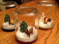 Farm Animal Theme Waterless Snow Globes Made From Salsa Jars & Toys We Found In The Playroom