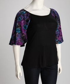 Take a look at this S.W.A.K. Designs Purple Flower Nicole Plus-Size Scoop Neck Top by Sealed With a Kiss Designs on #zulily today!