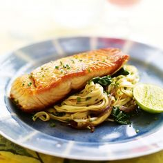 Seared Salmon with Spinach and Soy Stir-Fried Noodles Recipe