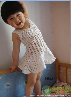 pineappl crochet, infant crochet dress free, white pineappl, graph pattern, crochet dresses