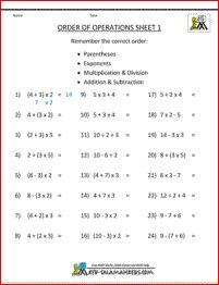 PEMDAS rule - Order of Operations Sheet 1 - a useful sheet to help you introduce the PEMDAS rule.