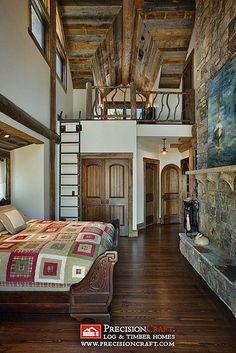 log cabin bedroom loft - love the ceiling