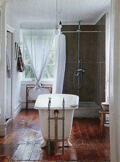 wood floors in the bathroom