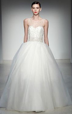 amsale - wedding dress - bridal - amsale collection - fall 2013 - plaza - tulle, illusion neckline ballgown with beaded bodice and box pleat skirt, available in ivory