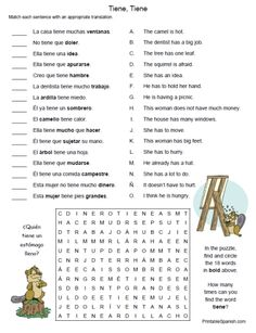 Printable Spanish FREEBIE of the Day:  Tiene, Tiene worksheet from PrintableSpanish.com