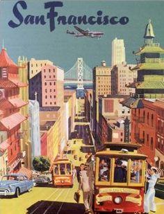 Vintage SF postcard thoughts, postcards, art, vintag travel, san francisco poster, travel poster, vintag san, posters, the city