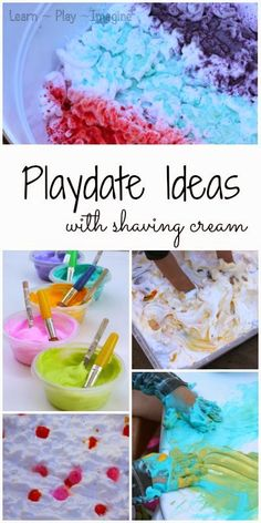 Ideas for hosting a messy play date with simple shaving cream sensory play ideas