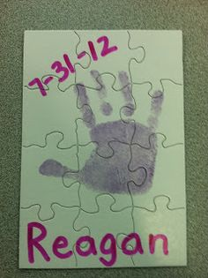 Miss Kindergarten: hand print poem craft, hand prints, handprint poem, teach, first day activities, jigsaw puzzles, kindergarten lifestyl, kid, back to school