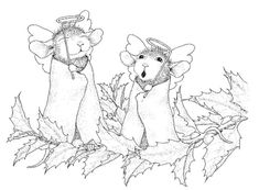 Stampendous - Cling Mounted Rubber Stamp - House Mouse Angel Mice