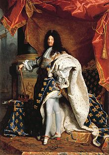 Louis XIV (5 September 1638 – 1 September 1715), known as Louis the Great or the Sun King (French: le Roi-Soleil), was a Bourbon monarch who ruled as King of France and Navarre.[1] He holds the distinction of being the longest-reigning king in European history, reigning for 72 years and 110 days