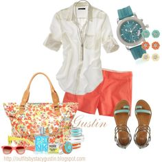 """""""blue and coral"""" by stacy-gustin on Polyvore"""