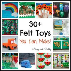30 Homemade Toys made from Felt these would all make great gifts!