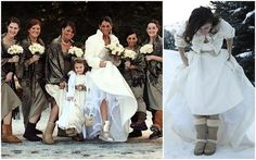 Brides in UGG boots at winter weddings