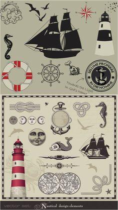 Vintage marine elements vector