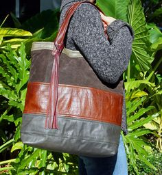 Upcycled multi leather tote