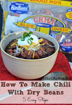 How to make homemade chili with dry beans, Hurst's HamBeens 5 Easy Steps