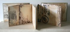 Tide Marks book #9 by Alice Fox - mixed media artists book | Rust print with collagraph print on paper with hand stitch in cotton  #handmade_book