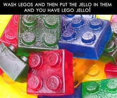 jello legos {although I think I'd just buy new ones, not wash old ones - ew}