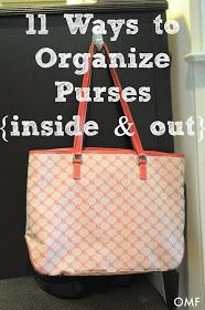 11 Ways to Organize Purses {Inside and Out} | OrganizingMadeFun.com