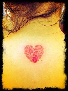 My mom and dad fingerprint heart tattoo