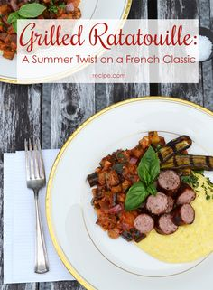 Flex your #grilling skills with this grilled #vegetable #ratatouille served with #sausage and #polenta.