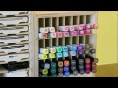 Stamp-n-Storage Marker Holder video.  Organize your markers, whether they are Copic, Spectrum Noir, Stampin' Up!, Close To My Heart, Distress, Prismacolor or others!