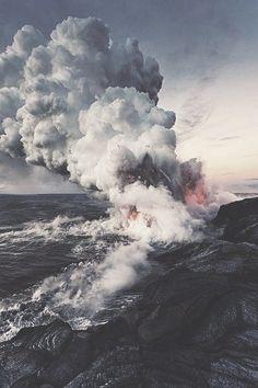 Lava meeting the sea