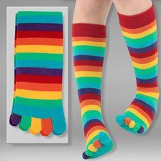 Stripe Toe Socks Multi-Bright now featured on Fab.