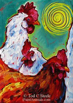 """Chicken Painting - Chicken Art Print from Original Painting by Tod C Steele - 5x7 - """"The Wackford Sisters of Hootin Holler"""""""